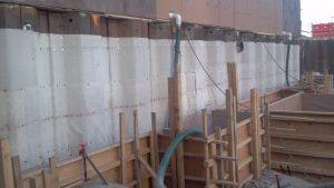 Waterproofing steel walls for commercial building